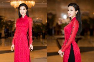 Đại sứ Lễ hội Áo dài Hoa hậu Đỗ Mỹ Linh diện áo dài chiết eo như phụ nữ Sài Gòn chính gốc