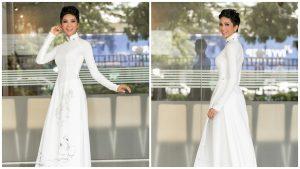 Hoa hậu H'hen Niê dịu dàng, nền nã trong tà áo dài trắng truyền thống