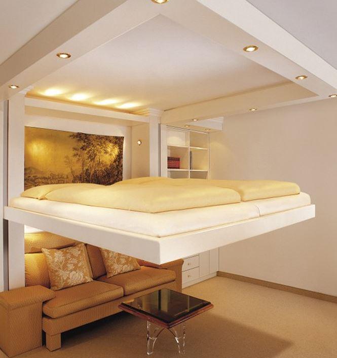 Với hệ thống ròng rọc này, chỉ cần thao tác nhỏ, bạn có thể đặt chiếc giường với những độ cao tùy theo ý muốn.