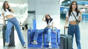 Asia's Next top Model: Minh Tú diện xì tai Britney, khoe vòng eo con kiến tại sân bay