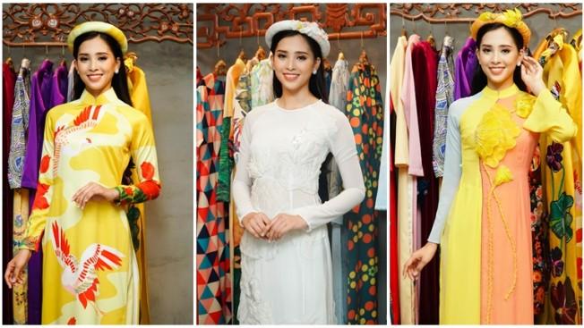 Hoa hậu Tiểu Vy rạng rỡ của trong buổi thử đồ của NTK Thủy Nguyễn
