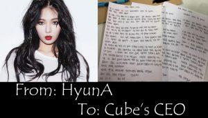 SỐC: Bức thư tay HyunA gửi CEO Cube Entertainment bất ngờ bị tiết lộ