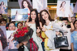 Hoa hậu Tiểu Vy xúc động chào đón Á hậu Phương Nga về nước sau Miss Grand