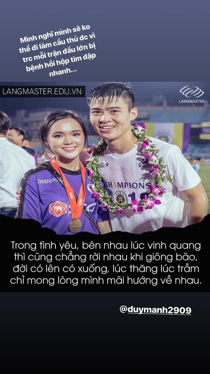 Người yêu Quỳnh Anh đã chia sẻ những hình ảnh tình cảm cùng Duy Mạnh trên trang cá nhân trước trận quyết chiến diễn ra vào tối nay trên sân Mỹ Đình.