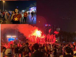 Hoa hậu Đỗ Mỹ Linh hòa cùng dòng người ăn mừng chiến thắng nghẹt thở của ĐT Việt Nam trước Philippines