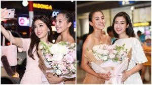 Trở về sau hành trình tại Miss World, HH Tiểu Vy được HH Đỗ Mỹ Linh và Á hậu Phương Nga chào đón ngay tại sân bay