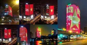 Tuyển Việt Nam chiến thắng Malaysia tại AFF Cup, những toà nhà ăn mừng siêu sáng tạo