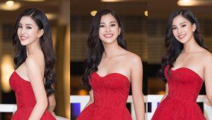 Diện đầm đỏ cúp ngực, Hoa hậu Tiểu Vy xinh đẹp như một đóa hồng