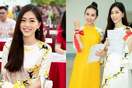 Á hậu Phương Nga xuất hiện tại TP Hồ Chí Minh cùng Người đẹp Nhân Ái Thùy Tiên tham gia ngày hội hiến máu Chủ nhật đỏ