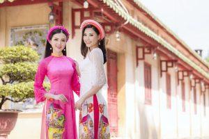 Hoa khôi Huỳnh Thúy Vi Vi đọ sắc với Người đẹp biển 2016 trong tà áo dài xuân