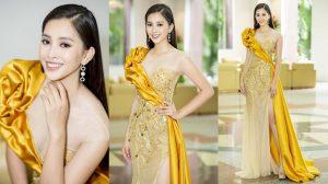 Diện đầm vàng nổi bật, Hoa hậu Tiểu Vy khoe nhan sắc thanh tân quyến rũ