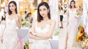 Hoa hậu Đỗ Mỹ Linh diện đầm khoe ngực đầy