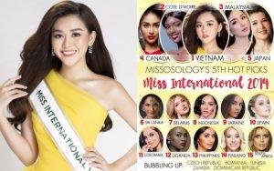 Á hậu Tường San được dự đoán sẽ giành vương miện Miss International 2019