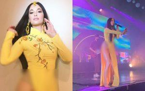 """Nữ ca sĩ nhạc đồng quê Kacey Musgraves bị chỉ trích gay gắt vì mặc áo dài nhưng """"quên"""" mặc quần"""