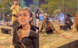 """Hà Nội: Bực tức vì không được """"nựng chó"""", người đàn ông say xỉn hành hung phụ nữ ngoại quốc giữa phố"""