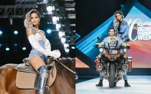 """H'Hen Niê và màn trình diễn """"làm quá"""" nhất lịch sử AVIFW: cưỡi xe phân khối lớn mở show, chễm chệ trên lưng ngựa kết show"""
