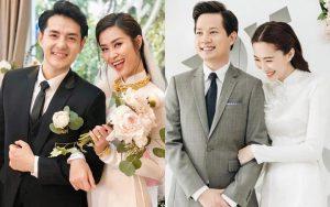 Đâu chỉ Đông Nhi, Lan Khuê, Đặng Thu Thảo cũng từng diện áo dài trắng tinh khôi ngày cưới