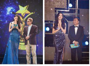 Trở về từ Miss Intercontinental, Á hậu Thúy An hội ngộ Hoa hậu Tiểu Vy trên thảm đỏ cùng nhau trao giải