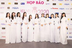 Dàn Hoa Á hậu khoe sắc trong áo dài trắng tại họp báo khởi động Hoa hậu Việt Nam