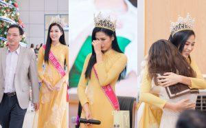 Hoa hậu Đỗ Thị Hà xúc động bật khóc trong ngày về thăm trường cùng ba mẹ