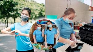 Gia đình Á hậu Ngọc Thảo trực tiếp tham gia nấu và phát cơm mùa dịch.