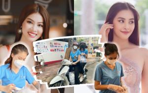 Hoa hậu Tiểu Vy, Á hậu Ngọc Thảo làm shipper giao cơm cho các chiến sĩ lực lượng tuyến đầu chống dịch